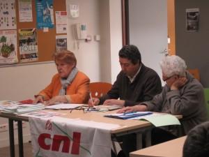 Mme Maguy GAILLARD – Présidente CNL 35, M. Oualid AKKARI Secrétaire confédéral, Mme Michèle LEMOINE – Secrétaire CNL 35